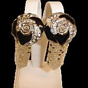 Spotless WHITING and DAVIS Dangle Drop Earrings - Vintage Enamel Rhinestone and Mesh Earrings