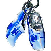 Pair of Sterling Silver Blue Enameled Dutch Shoe Charms - Vintage Charms for Necklace or ...