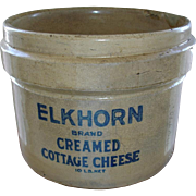 SALE Antique Elkhorn Cottage Cheese Crock - RARE -  BIG Stoneware - Cobalt Blue Lettering