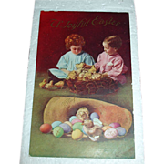 SALE Vintage Easter Holiday Postcard - Children & Chicks