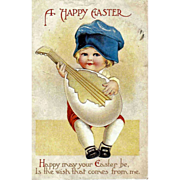 Unsigned CLAPSADDLE - Easter Holiday Greeting Postcard - Child Playing Mandolin