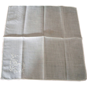 Vintage Ladies Linen Hankie -  White on White Decoration