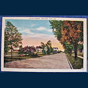 Vintage 1942 Linen Postcard Ashland Wisconsin - Ellis Avenue - Near Northland College