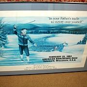 SALE 1984 Framed American Berkebeiner Race Cross Country Skiing Poster - Vintage BIRKIE Print