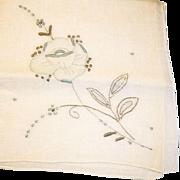 Vintage Hand Embroidered  Floral Hankie Handkerchief