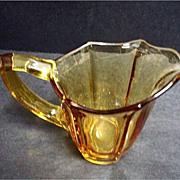 SALE PENDING Vintage Deep Yellow Glass Creamer - Amber Glass Creamer