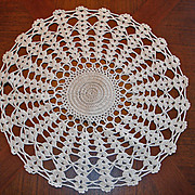 "SALE Vintage Hand Stitched Crochet Doilie Doily - 12 1/2"""