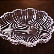 SALE Vintage Patterned Pressed Glass Leaf Dish