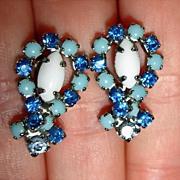 Milk Glass Blue Glass and Rhinestone Earrings - Vintage Screw Back Earrings