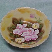 SALE Vintage Porcelain Serving Bowl - Yellow Floral Hand-Painted China