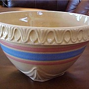 Vintage Pottery Yellow Ware Stoneware Bowl - 8 1/2 in. - Old Crock Bowl