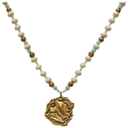 White Crystal & Turquoise Beaded Yellow Gold Tone Necklace with Pendant - Vintage Estate ...