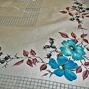 SALE PENDING Vintage 1950's Cotton Tablecloth - Floral Kitchen Linens