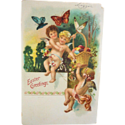 Vintage Easter Angels Postcard - Baby Basket Butterfly Post Card