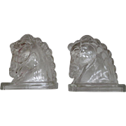 Pair of Vintage Glass Decorative Horse Head Bookends – Mid Century Modern – Figural Federa