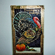 Vintage Embossed Thanksgiving Postcard - Turkey Post Card  from 1899