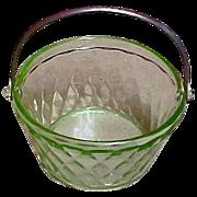 SOLD Vintage FENTON Glass - ART DECO Green Glass Bucket - Round Bridge Bonbon