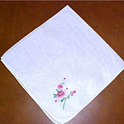 SALE Vintage Rose Embroidered White Hankie