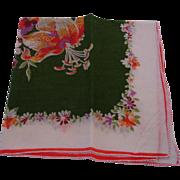 Vintage Cotton Hankie - Green & White Floral Handkerchief