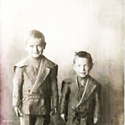 SALE Real Photo Postcard - Young Boys in High Top Shoes and  Short Pants