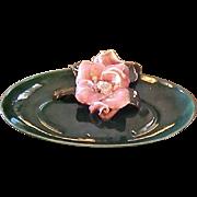 Vintage Green Floral Bowl Dish Mid-Century Modern Decorative Dish - California Pottery Bowl ..
