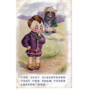 Vintage Post Card - Humorous Children Greeting Postcard