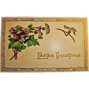 Embossed Easter Holiday Greetings Postcard -  Vintage Art Deco Design Post Card