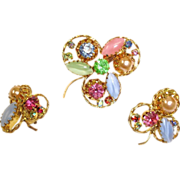 Vintage AUSTRIAN Crystal Rhinestone Jewelry - Brooch and Earrings Set - Demi Parure Jewelry