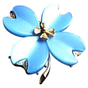 Vintage Blue Lucite or Thermoset Plastic Flower Pin Brooch