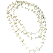 "SALE Vintage Necklace - Long 54"" - White Bead and FAUX Mother of Pearl"