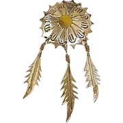 SALE MEXICO Sterling Silver Brooch - 3 Dangling Sterling Feathers - Vintage TAXCO Jewelry