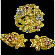 Vintage CORO Demi Parure Rhinestone Jewelry - 1950 ADOLPH KATZ Spring Flower Rhinestone Brooch