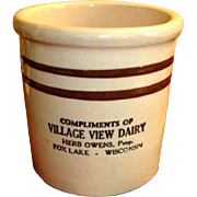 Crock Beater Jar with Advertising – Stoneware Utensil Crock  - Fox Lake Wisconsin