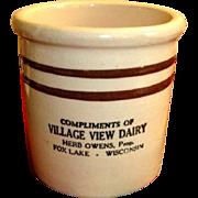 Crock Beater Jar with Advertising – Vintage Stoneware Crock - Fox Lake Wisconsin