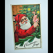 Vintage STECHER Embossed Santa Postcard - Antique Santa Post Card