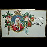 Antique Embossed Santa Postcard - Vintage Santa Claus Post Card Seasons Greetings