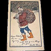 Vintage Santa Claus Post Card - Antique Christmas Holiday Greetings Postcard