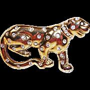 Estate Rhinestone Big WILD Cat -  Vintage Large Leopard  Cat Brooch