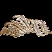 Vintage  Marvella  Silver Tone Leaf Brooch