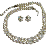 SALE LAGUNA Glass Pearls and AB Crystal Beads Necklace and Earrings Set – Vintage Laguna Dem