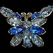 Vintage Juliana D&E Rhinestone Butterfly Brooch - Delizza & Elster Jewelry