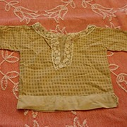 REDUCED Early Child-made Brown Gingham Doll Shirt