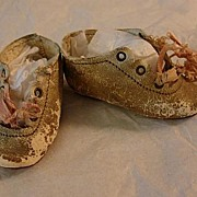 REDUCED Antique Leather Doll Shoes Low Heel