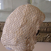 REDUCED Sweet Crocheted Bonnet w/Ribbon Rosettes
