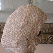 REDUCED Sweet Crocheted Bonnet w/Ribbon Rosettes