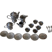 REDUCED 20 Pc Pewter Doll Teaset
