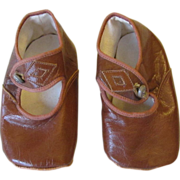SOLD Pristine Pair Brown Leather Baby/Doll Shoes