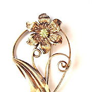 SALE Large and Lovely, Sterling Silver Flower Pin with Peridot