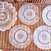 SALE Beautiful Set of Four Duncan Miller Sandwich Glass Luncheon Plates with Relish Dish