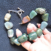 SALE Primitive Jumbo Sized Agate Stone Necklace
